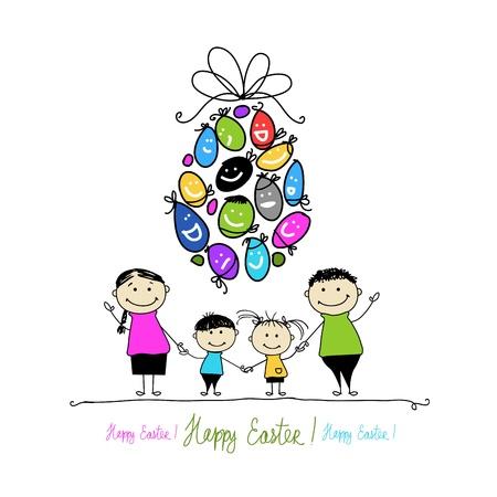 Carte postale de Pâques avec la famille pour votre conception Banque d'images - 20232871