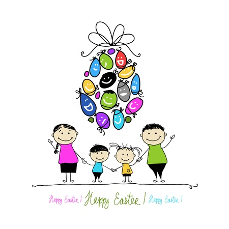 family isolated: Easter postcard with family for your design