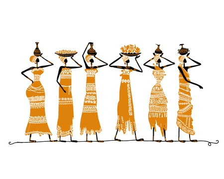 body painting: Sketch of ethnic women with jugs for your design Stock Photo
