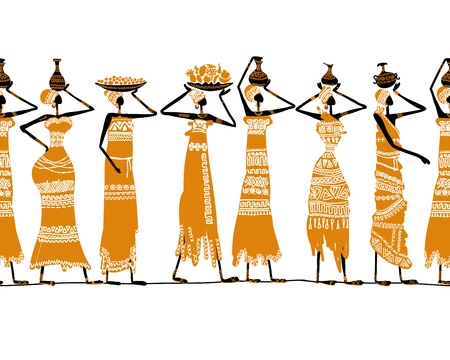 for women: Ethnic women with jugs, seamless background for your design