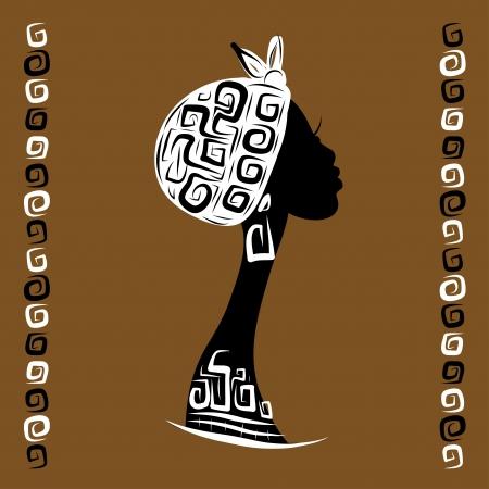Female head silhouette for your design, ethnic ornament Stock Vector - 20232882