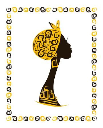 Silhouette de femme à la tête de votre conception, ornement ethnique Banque d'images - 20232885
