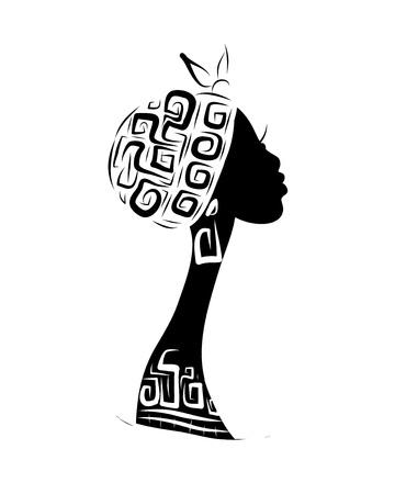 Vrouwelijk hoofd silhouet voor uw ontwerp, etnische ornament