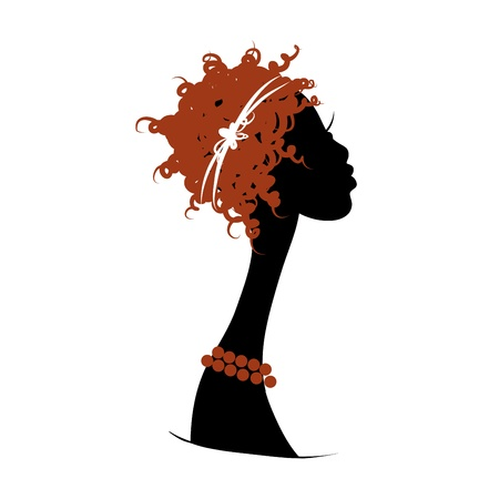 long neck: Female head silhouette for your design