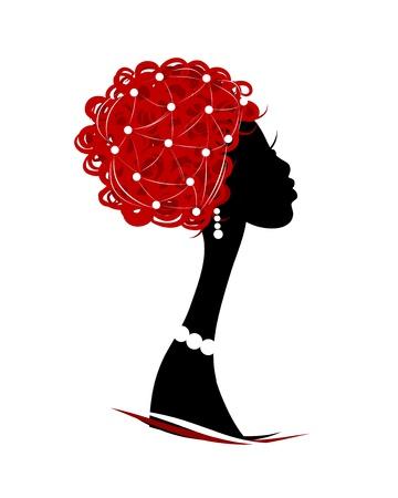 ilustraciones africanas: Silueta de la cabeza femenina para el dise�o