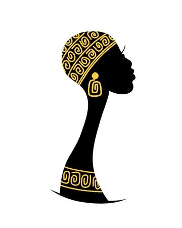 mujeres africanas: Silueta de la cabeza femenina para el dise�o
