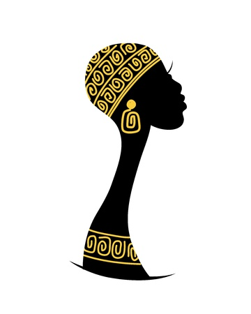 arte africano: Silueta de la cabeza femenina para el dise�o