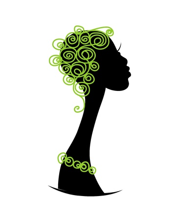 african woman hair: Female head silhouette for your design