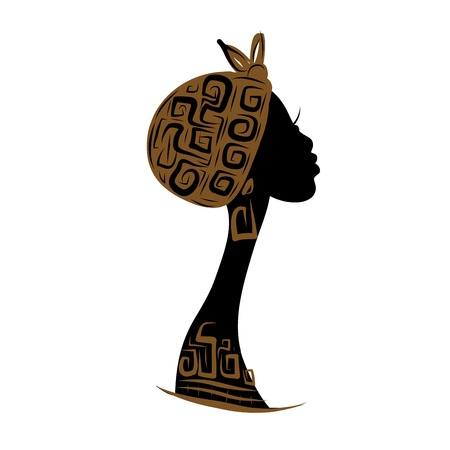 ilustraciones africanas: Silueta de la cabeza femenina para el diseño, ornamento étnico