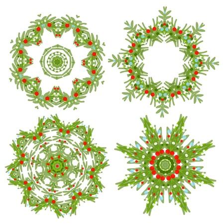 coronas de navidad: Conjunto de guirnaldas de Navidad para su dise�o