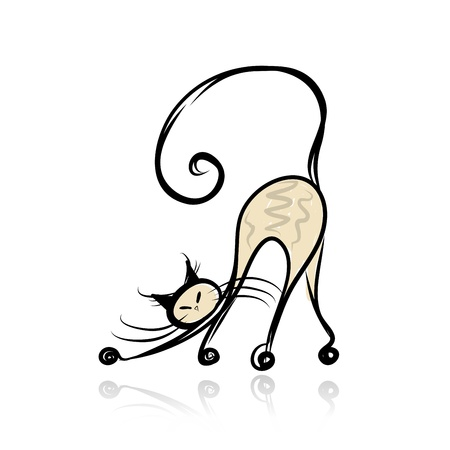 cat drawing: Graceful siamese cat for your design