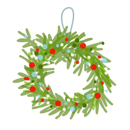 wreath christmas: Christmas wreath sketch for your design