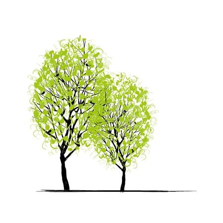 あなたの設計のための 2 つの春の木  イラスト・ベクター素材
