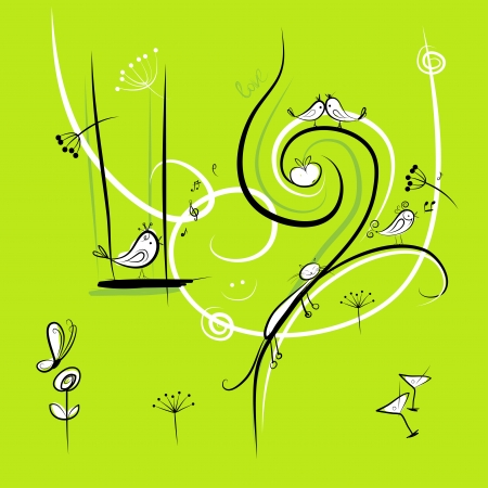 Green background with funny birds for your design Vector