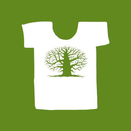 bare trees: Big tree green on white t-shirt for your design