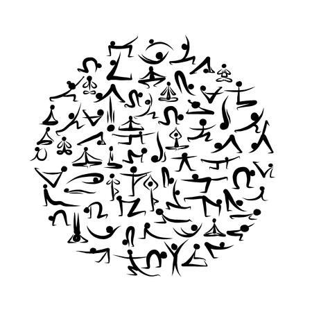 Yoga Asanas Sammlung für Ihr Design Standard-Bild - 20498514