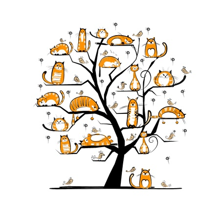 cat illustration: ?at family tree for your design