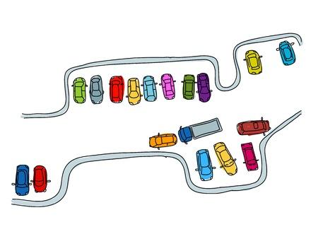car parking: Set of funny cars on parking space for your design Illustration