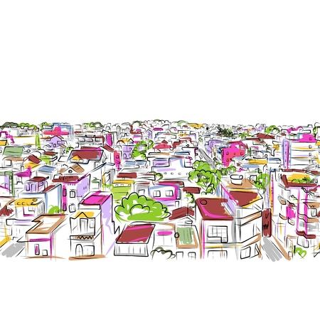 office window view: Cityscape sketch, seamless pattern