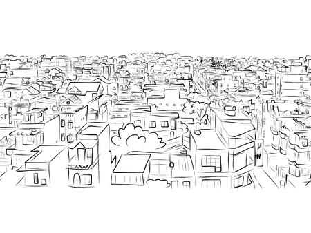 Cityscape schets, naadloze patroon voor uw ontwerp
