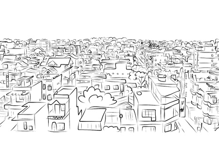 modern house sketch: Cityscape sketch, seamless pattern for your design
