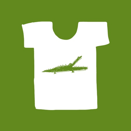 Crocodile sketch on white t-shirt for your design Vector