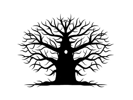 leafless: Old tree bare, silhouette for your design Illustration