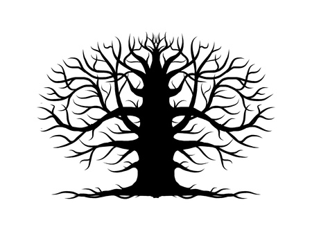 huge tree: Old tree bare, silhouette for your design Illustration