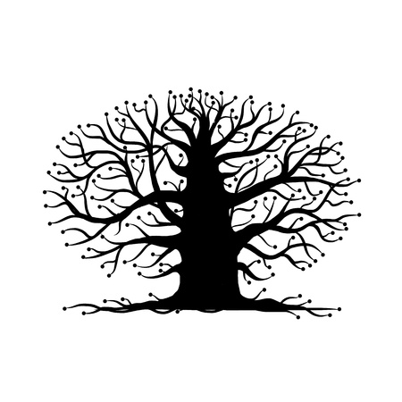 Old tree bare, silhouette for your design Illustration