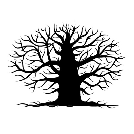 Old tree bare, silhouette for your design Vector