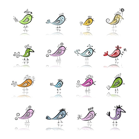 Funny birds collection for your design Vector