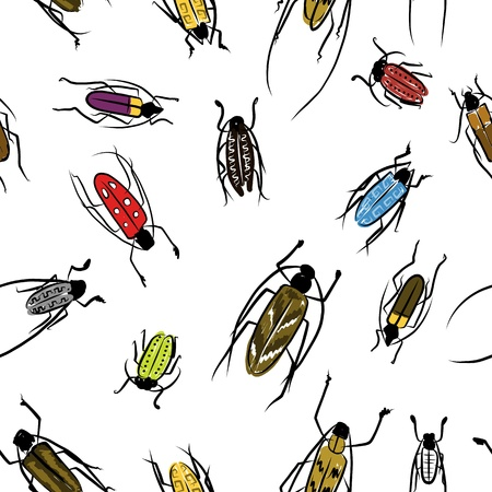 Beetles sketch, pattern for your design Vector