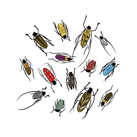 Sketch of funny colorful beetles for your design Vector