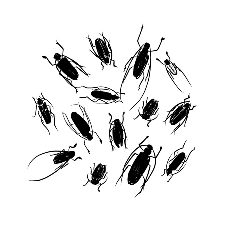 cicada: Sketch of funny colorful beetles for your design Illustration