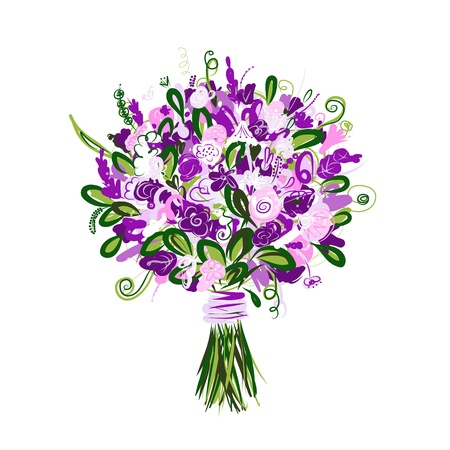 bridal bouquet: Floral bouquet for your design Illustration