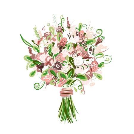 cartoon bouquet: Floral bouquet for your design Illustration