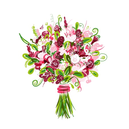 marriage cartoon: Floral bouquet for your design Illustration