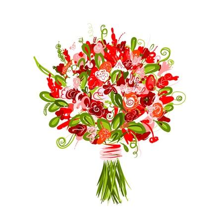 bouquet flowers: Floral bouquet for your design Illustration