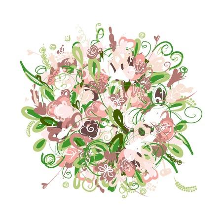 pink bushes: Floral bouquet Illustration
