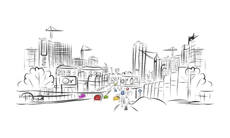 city lights: Sketch of traffic road in city