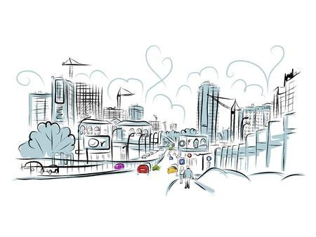 도시 교통 도로의 스케치 일러스트