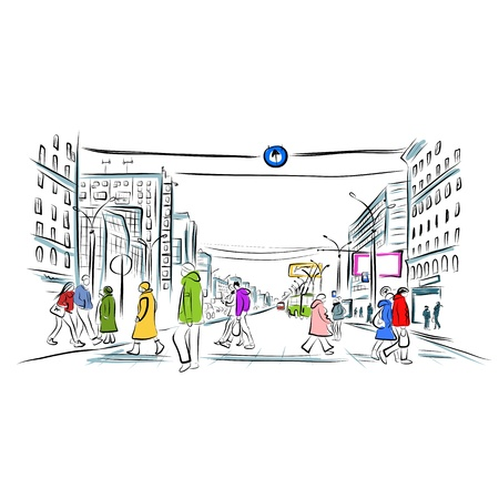 Sketch of street with pedestrians Vector