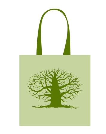 Green bag with big tree Vector