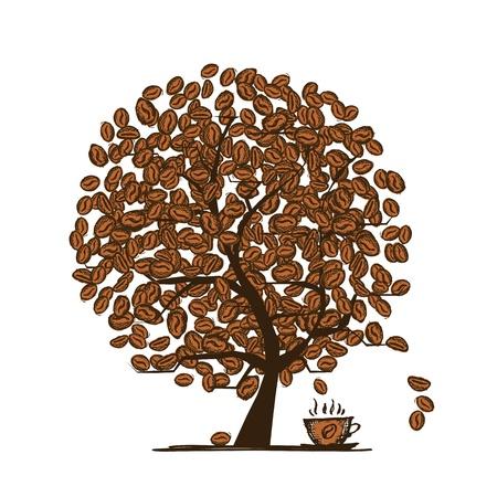 planta de cafe: Granos de café del árbol