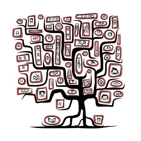 árbol genealógico: Dibujo del árbol Familia con personas retratos Vectores