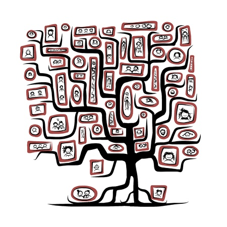 Stammbaum Skizze mit Menschen Porträts Standard-Bild - 20617164