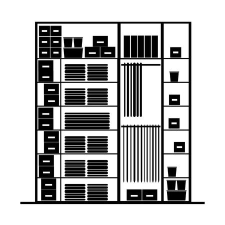 clothes rack: Wardrobe inside illustration
