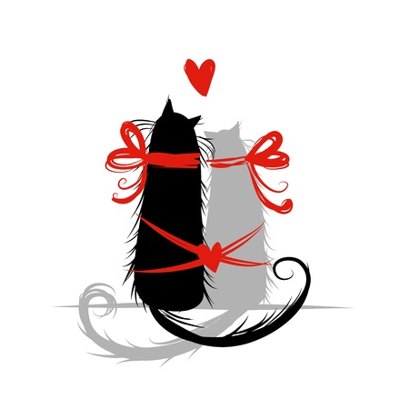 Two cat in love Illustration Vector