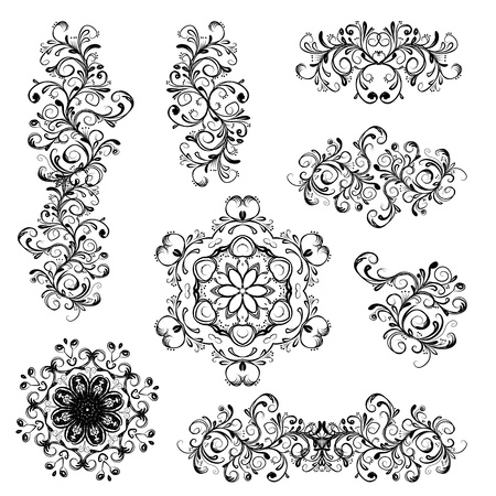 swirly design: Set of floral ornaments Illustration