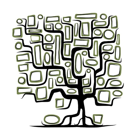 genealogical: Family tree concept with empty frames